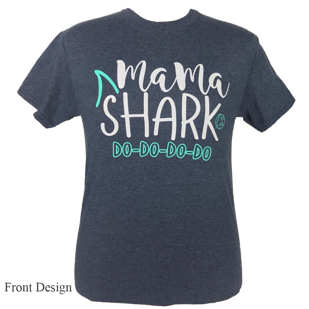 LP-Mama Shark Heather Navy Short Sleeve T-Shirt