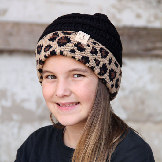 KID-45 Black Leopard Youth Beanie