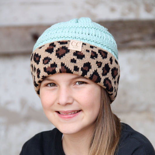 KID-45 Mint Leopard Youth Beanie