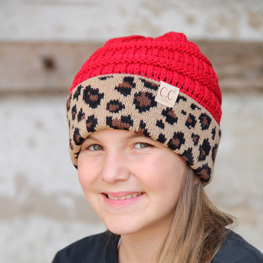 KID-45 Red Leopard Youth Beanie