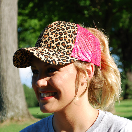B-7 Leopard C.C Pony Caps New Candy Pink