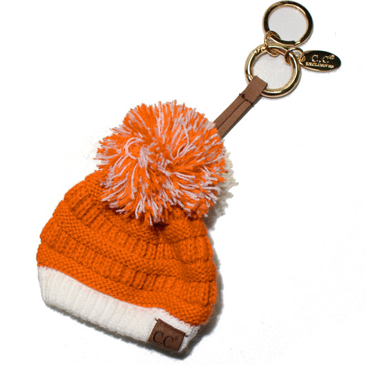 KB-56-8 Team Color Beanie Keychain Bright Orange and White