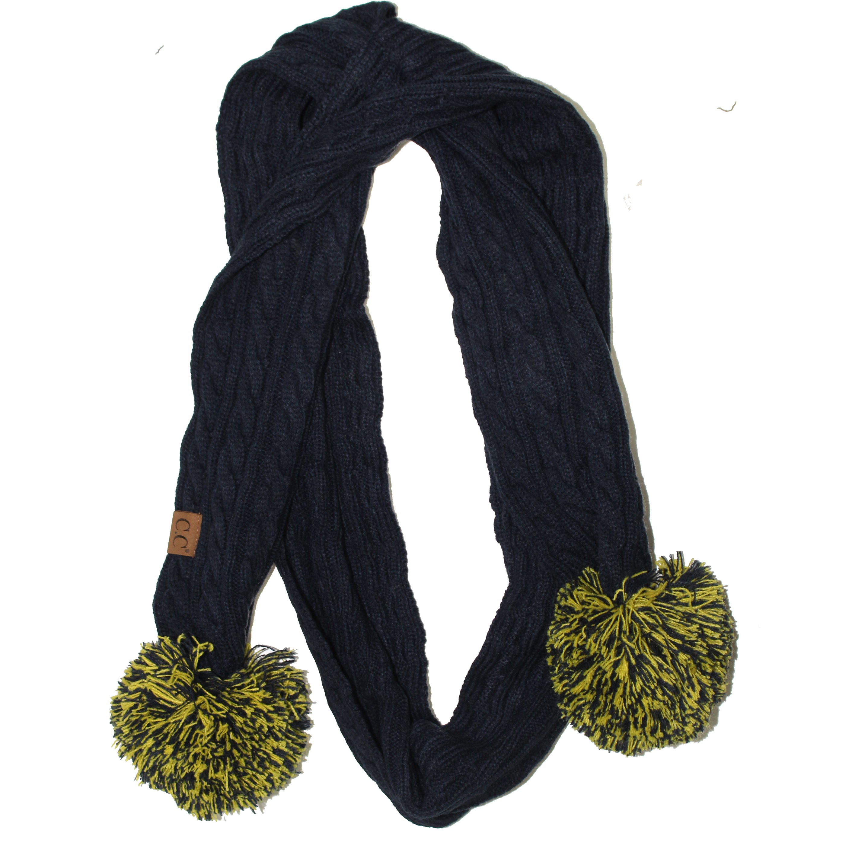 SK-56 Navy and Gold Team Pom Scarf