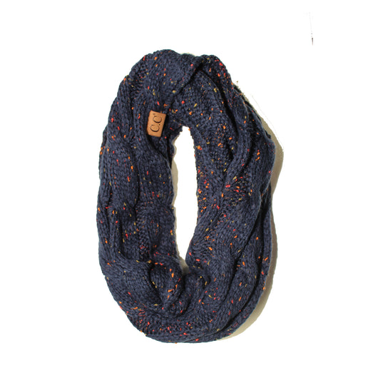 SF33-Navy Speckled Infinity Scarf