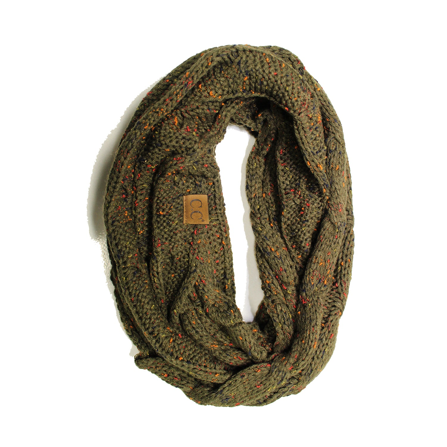 SF33-New Olive Speckled Infinity Scarf