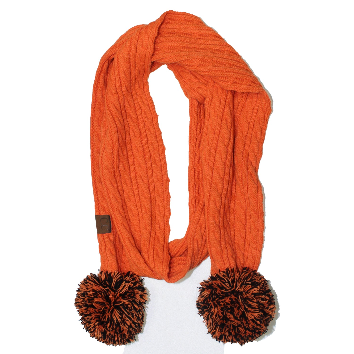 SK-56 Orange and Black Team Pom-Pom Scarf