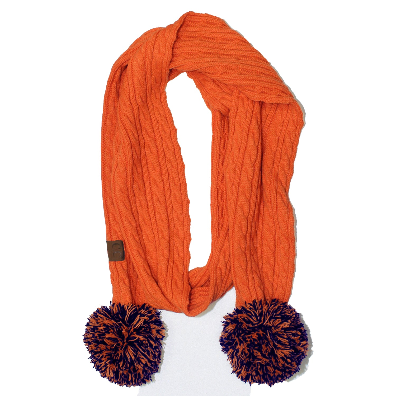 SK-56 Orange and Navy Team Pom-Pom Scarf