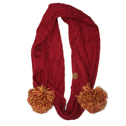SK-56 Maroon and Gold Team Pom Scarf