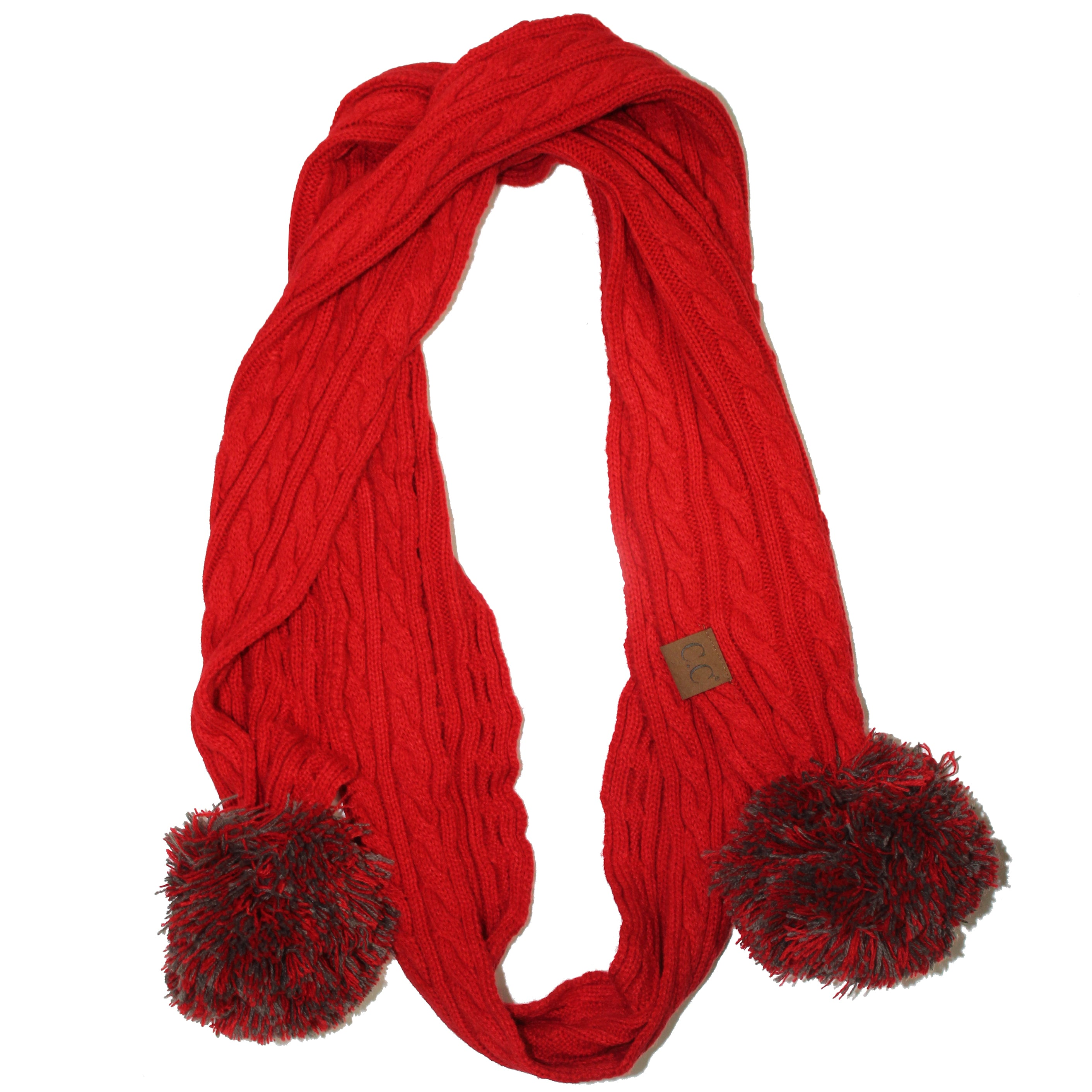SK-56 Red and Grey Team Pom Scarf