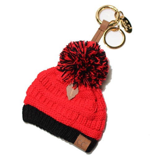 KB-56 Team Color Beanie Keychain Red and Black