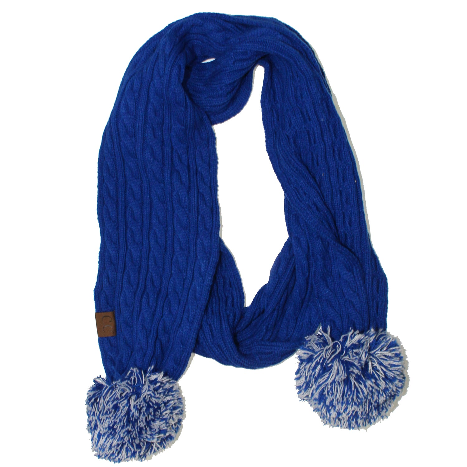 SK-56 Royal and White Team Pom-Pom Scarf