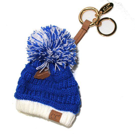 KB-56 Team Color Beanie Keychain Royal and White