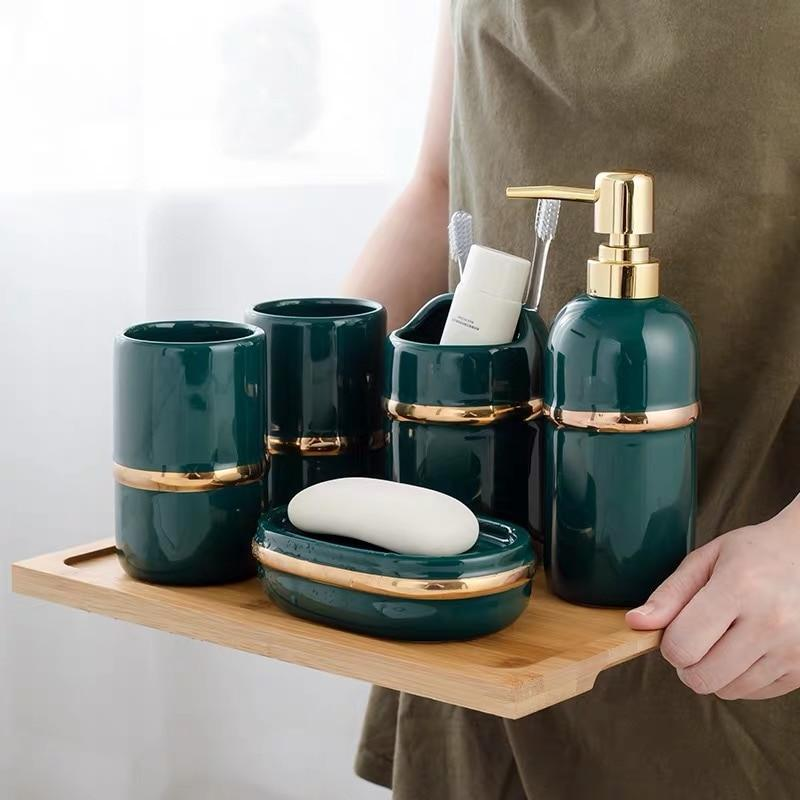 Gold Ring Bathroom Accessories Set