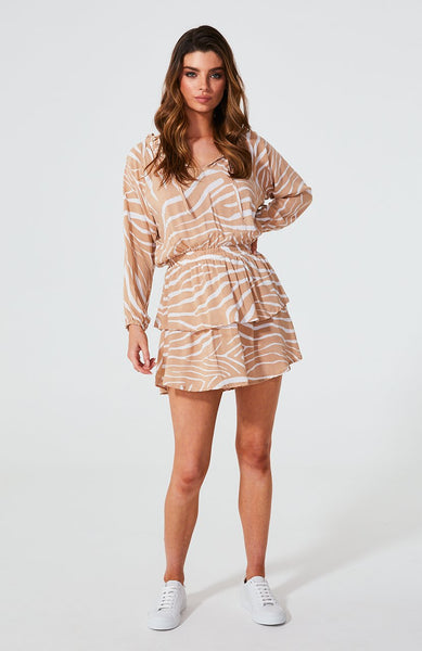 Cartel and willow lela long sleeve dress in blush zebra.