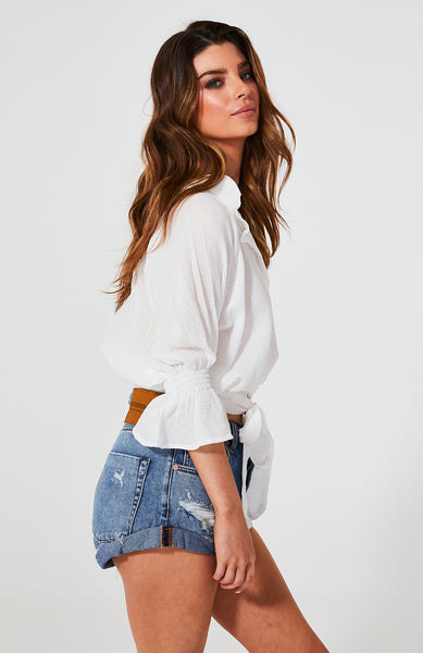 Cartel and Willow Olive tie up blouse in white