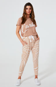 cartel and willow Kenji comeback pants in blush zebra