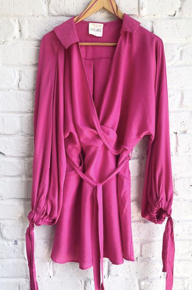 Bagira pink long sleeve shirt dress