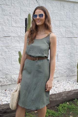little lies the label Bahama dress in khaki. Linen rayon blend