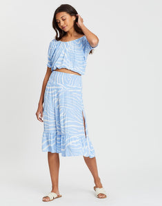 Cartel and Willow Florence maxi skirt with side split in blue zebra print. George Midi Skirt