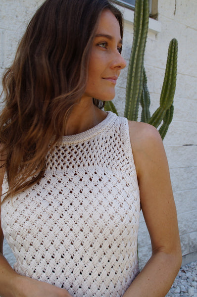 little lies the label mia knit tank in beige