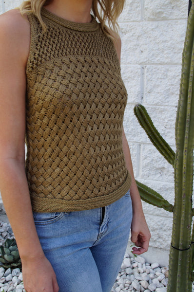 little lies the label Mia knit tank in olive