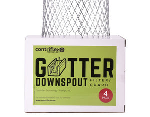 Gutter Downspout Guards - Pack of 4 Aluminum Strainers.  Prevents Clogging by Leaves, Pine Needles, Twigs and Other Debris.