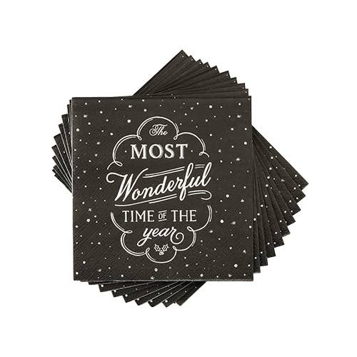 Black Chalkboard Christmas Napkins by Cakewalk - Party, Girl!