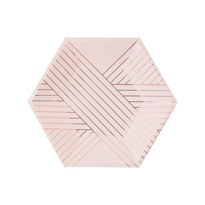 Amethyst - Pale Pink Striped Small Paper Plates - Party, Girl!