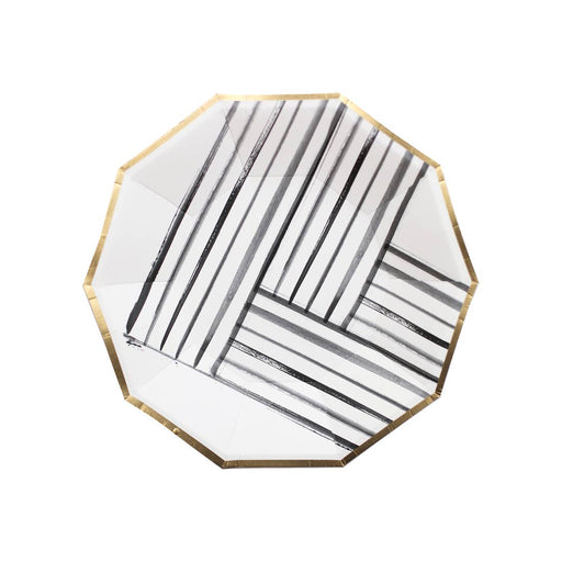 Rebelle - Black and White Brush Strokes Large Paper Plates - Party, Girl!