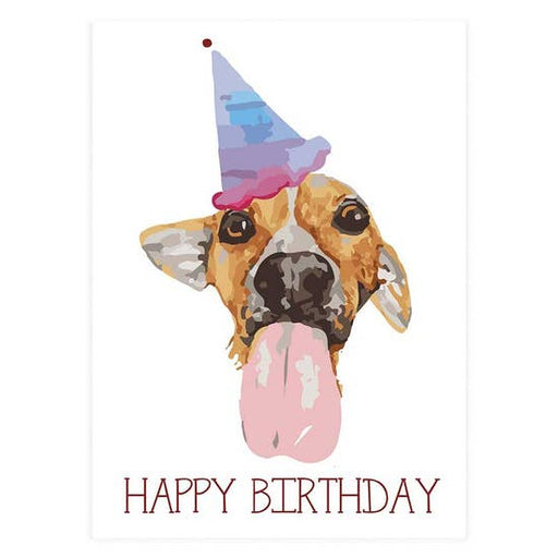 Birthday Pup with Tongue and Hat Greeting Card