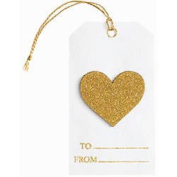 Gold Glitter Heart Adornment Gift Tags - Party, Girl!
