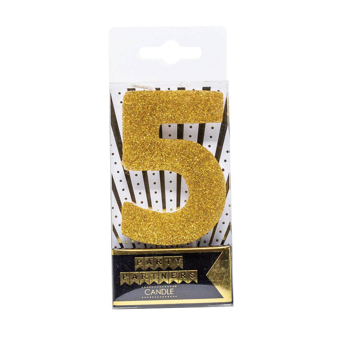Gold Glitter Number Candle - Party, Girl!