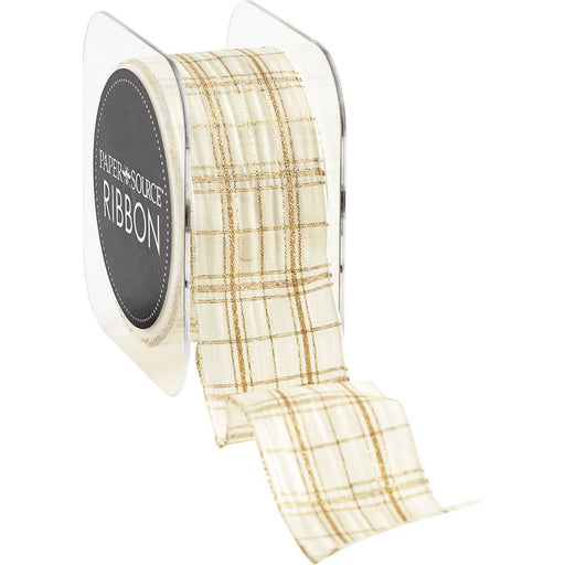White & Gold Plaid Wired Ribbon - Party, Girl!