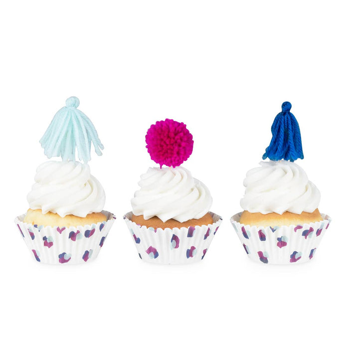 Cupcake Kit Set of 24 Cupcake Holders 12 Yarn Tassel and 12 - Party, Girl!