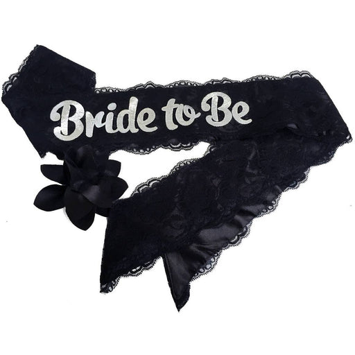 "Black ""Bride To Be"" Lace & Satin Bachelorette Party Sash With Flower Pin - Party, Girl!"