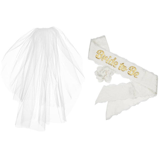 Veil and Sash Combo Pack for Bachelorette or Bridal Shower - Party, Girl!