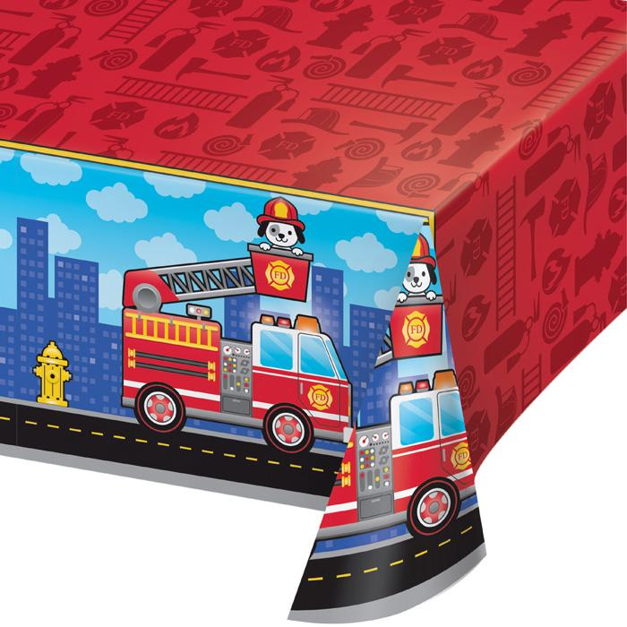Flaming Fire Truck Plastic Table Cover - Party, Girl!