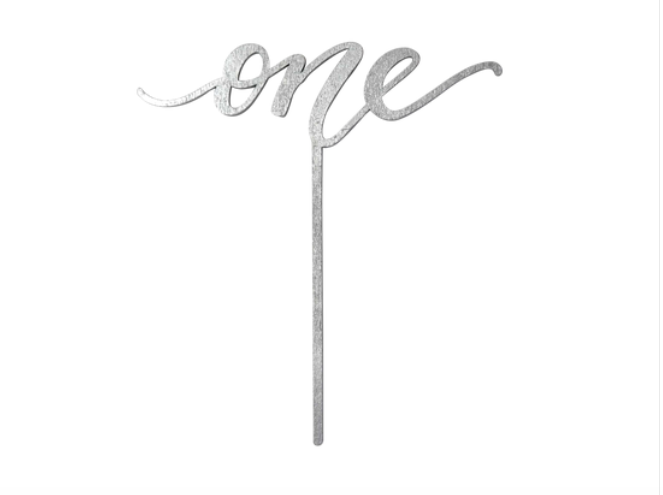 One Cake Topper Natural Wood, Gold, Silver