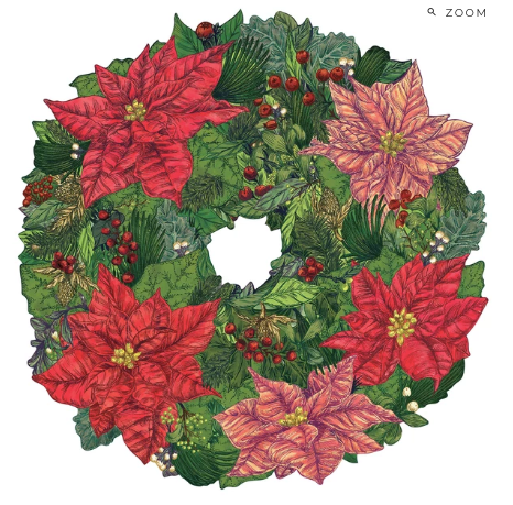 Poinsettia Wreath Placemat--12 Sheets - Party, Girl!