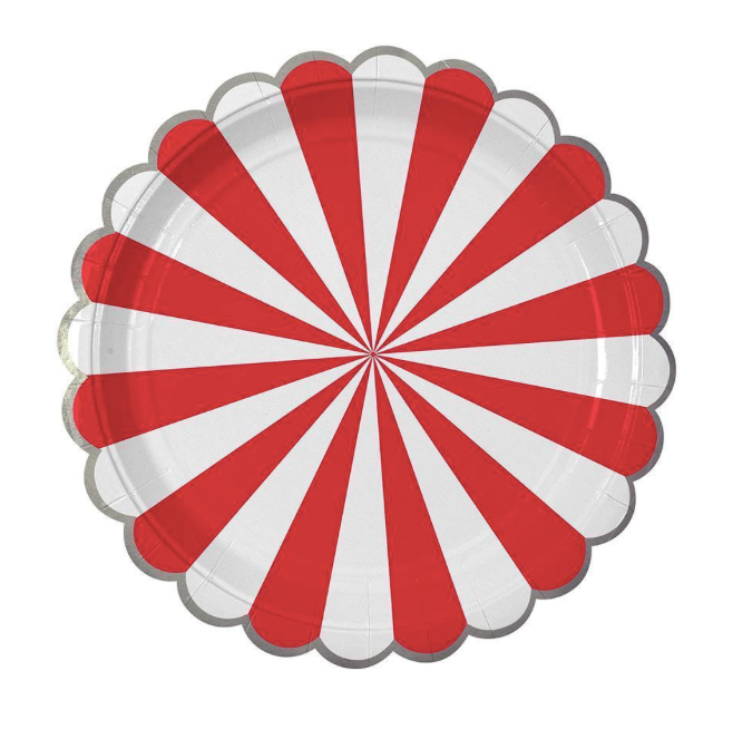 Red Fan Stripe Plates (Large) - Party, Girl!