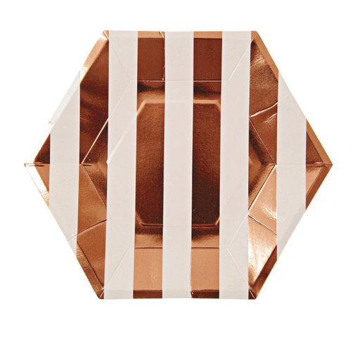 Rose Gold Striped Plates (Small) - Party, Girl!