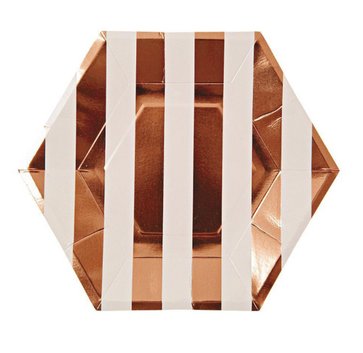 Rose Gold Striped Plates (Large) - Party, Girl!
