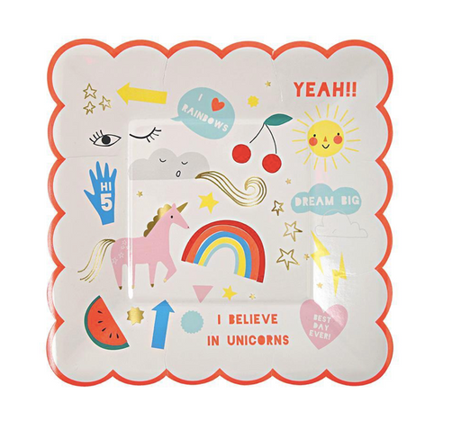Rainbow & Unicorn Plates (Small) - Party, Girl!