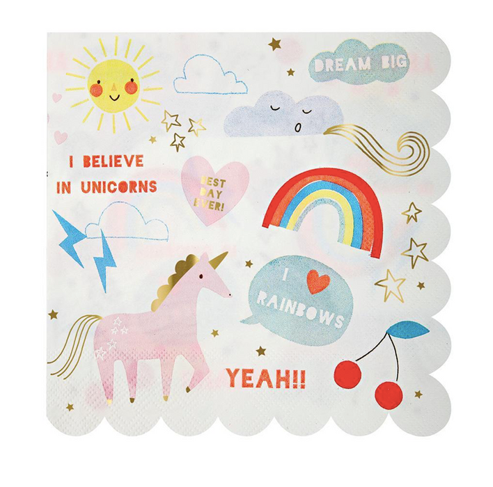Rainbow & Unicorn Napkins (Large) - Party, Girl!