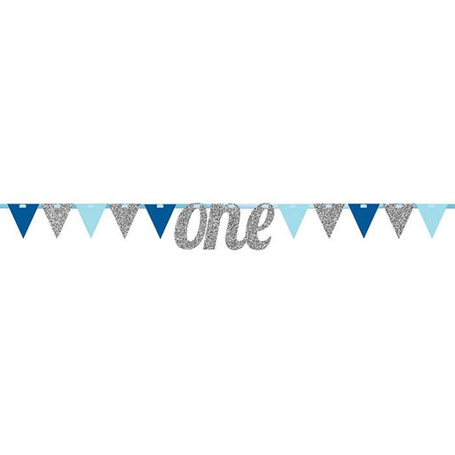 Glitter One First Birthday Pennant Banner - Blue and Pink - Party, Girl!