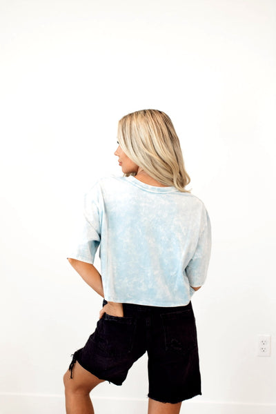 Coastal Crop Tee in Sky Blue