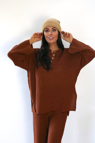 Turn Knit On Sweater Set (Rust)