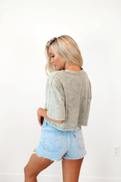 Coastal Crop Tee in Dusty Green