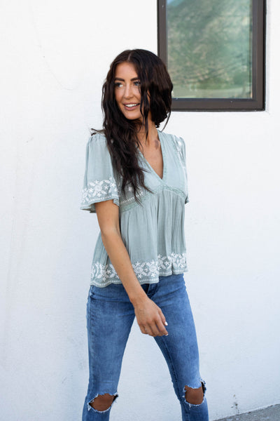 Perfect Day Top in Sage