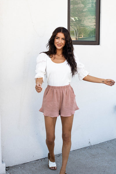 Brunch Babe Shorts in Mauve